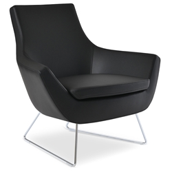 Rebecca Modern Arm Chair Black Leatherette + Chrome Wire Base