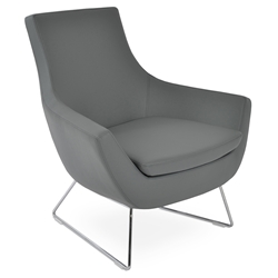Rebecca Modern Arm Chair Gray Leatherette + Chrome Wire Base