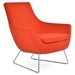 Rebecca Modern Arm Chair Orange Wool + Chrome Wire Base