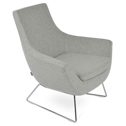 Rebecca Modern Arm Chair Silver Wool + Chrome Wire Base
