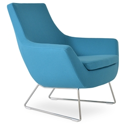 Rebecca Modern Arm Chair Turquoise + Chrome Wire Base