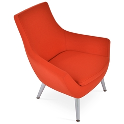 Rebecca Modern Arm Chair Orange Wool + Metal Legs