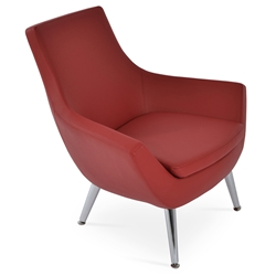 Rebecca Modern Arm Chair Red Leatherette + Metal Legs
