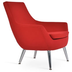 Rebecca Modern Arm Chair Red Wool + Metal Legs