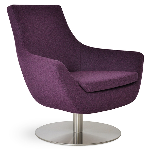 Rebecca Modern Arm Chair Deep Maroon Wool + Swivel Base