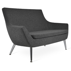 Rebecca Modern Sofa Dark Gray Wool + Metal Legs