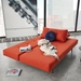 Innovation Living Recast Plus Modern Sleeper Sofa in Paprika - Bed Position