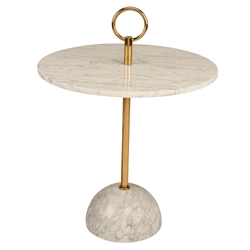 Roseta White Marble + Gold Steel Round Modern End Table