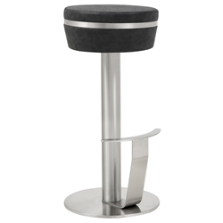 Remy Black + Stainless Steel Modern Bar Stool