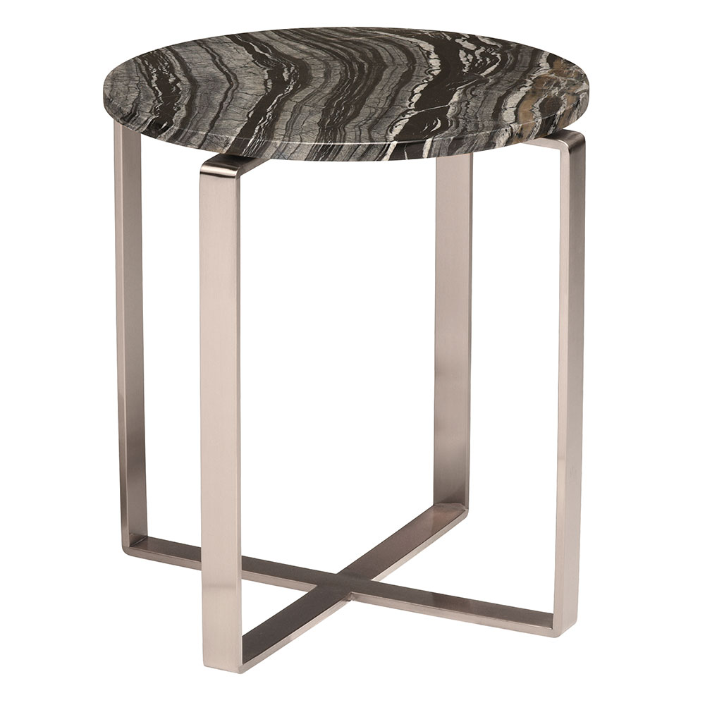 Riesel Black Marble + Steel Round Modern End Table