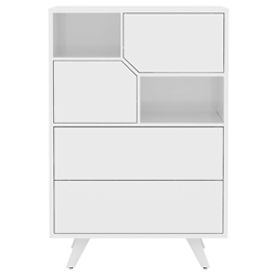 Modloft Rivington Modern High Chest in Glossy White Lacquer