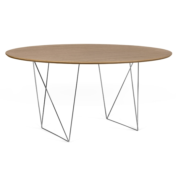 Row Walnut + Chrome 59 in. Dining Table by TemaHome