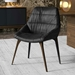 Modloft Black Rutgers Modern Dining Chair in Aged Onyx Leather with Walnut Finish Legs - Room Setting