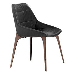 Modloft Black Rutgers Modern Dining Chair in Aged Onyx Leather with Walnut Finish Legs