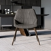 ç=Modloft Black Rutgers Modern Dining Chair in Deep Taupe Leather with Walnut Finish Legs - Room Setting Front View