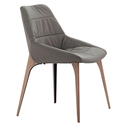 Modloft Black Rutgers Modern Dining Chair in Deep Taupe Leather with Walnut Finish Legs