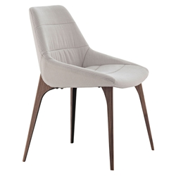 Modloft Black Rutgers Modern Dining Side Chair in White Sand Fabric Upholstery with Walnut Finish Legs