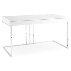 Sabine Modern White Desk w/ Drawers by Whiteline