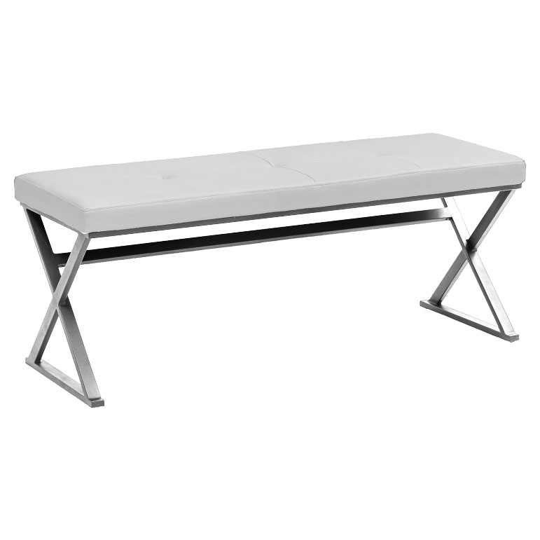 Sal White Contemporary Dining Bench