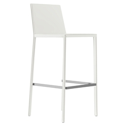 Modloft Black Sanctuary Alpine White Reclaimed Leather Modern Bar Stool