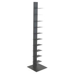 "Specter Gray Powder Coated Steel 60"" Modern Bookcase"