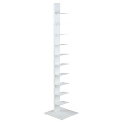 "Specter White Powder Coated Steel Modern 60"" Bookcase"
