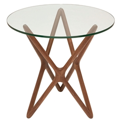 Star Contemporary Side Table - American Walnut + Round Glass Top