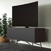 BDI Sector Modern Media Console in Sepia Laminate with Black Powder Coated Steel Base - Room Setting with TV, Angle View