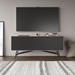 BDI Sector Modern Media Console in Strata Laminate with Black Powder Coated Steel Base - Room Setting with Wall TV Front