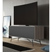 BDI Sector Modern Media Console in Strata Laminate with Black Powder Coated Steel Base - Room Setting with TV