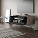 BDI Sector Modern Media Console in Strata Laminate with Black Powder Coated Steel Base - Room Setting with Wall TV, Open