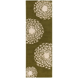 Seeds Runner Rug in Green and Cream
