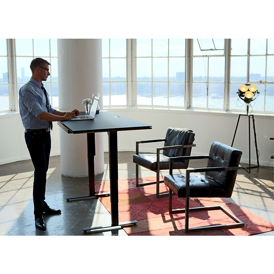 ... BDI Sequel Lift Contemporary Sit + Stand Desk In Chocolate Stained  Walnut + Black Glass ...