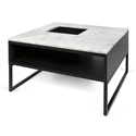 Sigma Black + White Marble Modern Coffee Table