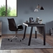 BDi Sigma Gray Wood Laminate + Black Steel + Black Glass Compact Modern Desk - Room Shot Side View