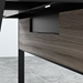 BDi Sigma Gray Wood Laminate + Black Steel + Black Glass Compact Modern Desk - Wire Panel Closed