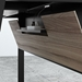 BDi Sigma Gray Wood Laminate + Black Steel + Black Glass Compact Modern Desk - Wire Panel Open