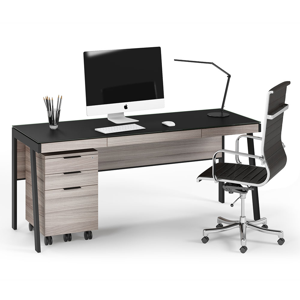 BDi Sigma Gray Wood Laminate + Black Steel + Black Glass Modern Desk + Mobile File Set