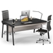 BDi Sigma Gray Wood Laminate + Black Steel + Black Glass Modern Desk - Double Desk Cluster