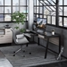BDi Sigma Gray Wood Laminate + Black Steel + Black Glass Modern Desk - Room Shot Drawer Open