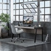 BDi Sigma Gray Wood Laminate + Black Steel + Black Glass Modern Desk - Room Shot