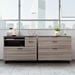 BDi Sigma Gray Wood Laminate + Black Steel + Black Glass Modern Lateral File Cabinet