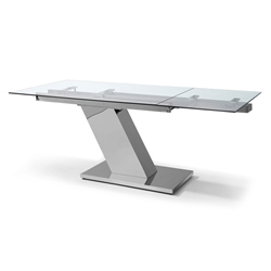 Sleek Modern Glass Extension Dining Table