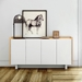 Skin White Lacquered Honeycomb Panels + Oak Veneers Modern Sideboard by TemaHome - Lifestyle Front View