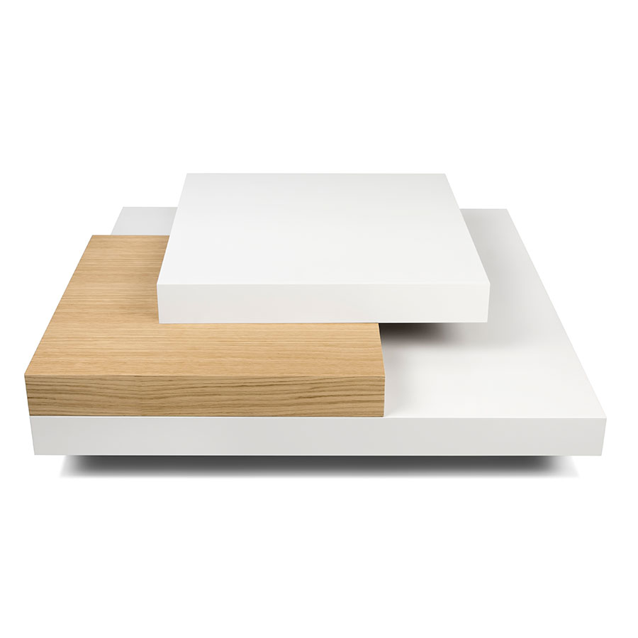 Slate White + Oak Contemporary Coffee Table Front