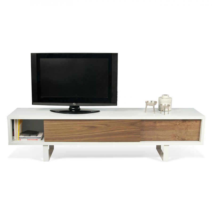 Temahome Slide White And Walnut Tv Stand