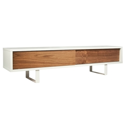 Slide White + Walnut Contemporary TV Stand by TemaHome