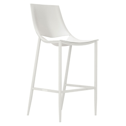 Modloft Black Sloane Alpine White Leather + Glossy White Steel Modern Bar Stool