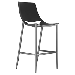 Modloft Black Sloane Black Leather + Carbon Steel Modern Bar Stool