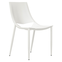 Modloft Black Sloane Modern Dining in Alpine White Leather and High Gloss White Steel